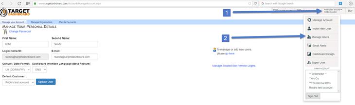 manage users menu item